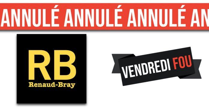 Renaud Bray annule son solde du Vendredi Fou